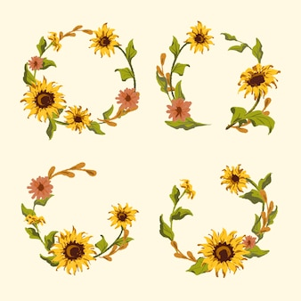 Sunflower wreath and badge vector set