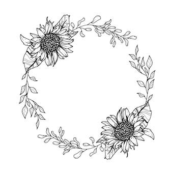 ひまわりの花輪。手描きイラスト。