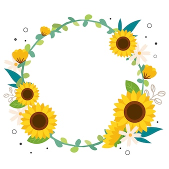 The sunflower wreath on the white background.
