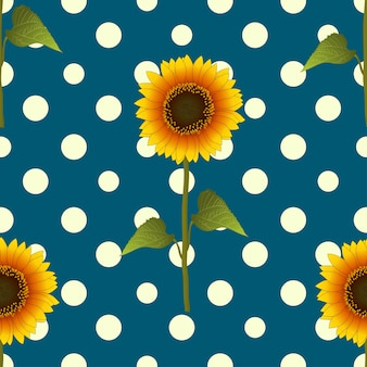 Sunflower on yellow polka dots blue teal background