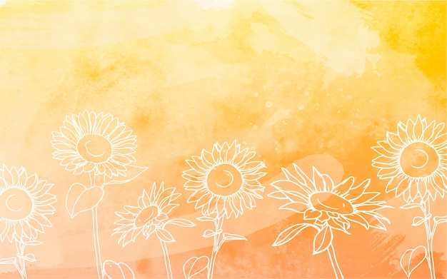 Sunflowers background with watercolor