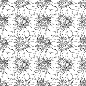 ひまわりの花は黒と白の色でモノクロのシームレスなパターン。モノクロの壁紙。ベクトルイラスト