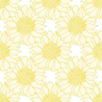 해바라기 꽃은 노란색과 흰색의 매끄러운 패턴입니다. 벡터 일러스트 레이 션