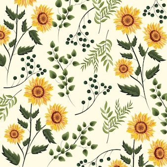 Sunflowers plants with branches leaves background