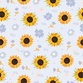 Sunflowers seamless pattern on blue
