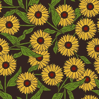 Sunflowers seamless pattern in doodle style.