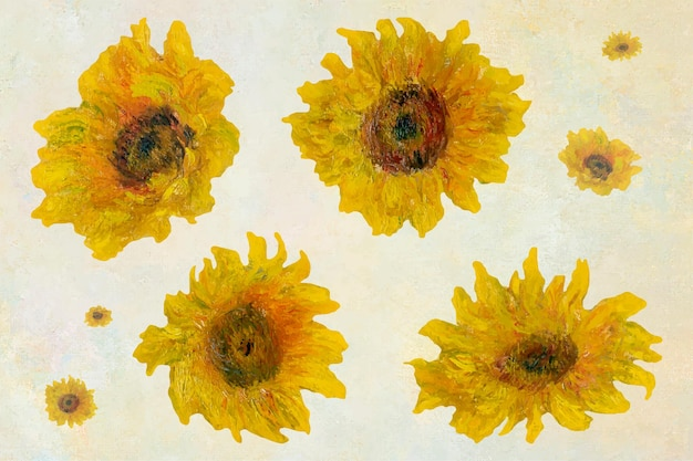 Sunflowers set remixed from the artworks of claude monet.