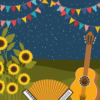 Sunflowers with music instruments and garlands
