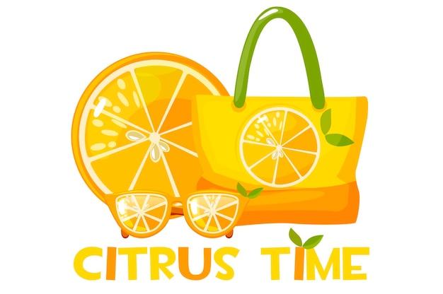 Солнцезащитные очки, пляжная сумка и долька апельсина. надпись время цитрусовых.
