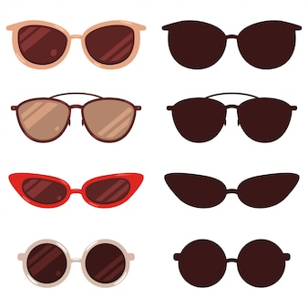 Sunglasses   cartoon and silhouette set isolated on white background.