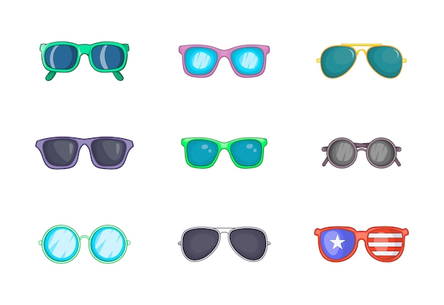 Sunglasses element set. cartoon set of sunglasses vector elements