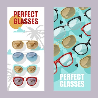 Sunglasses fashionable accessory set of banners sun spectacles plastic frame modern eyeglasses