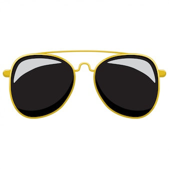 Sunglasses in fashionable gold frame shaped aviator.