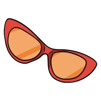 サングラス。紫外線から目を保護するゴーグル。ビーチで必要なもの。漫画のスタイル。デザインと装飾のイラスト。