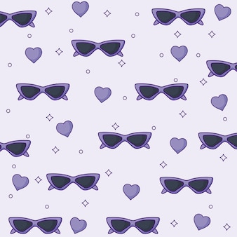 Sunglasses and hearts background