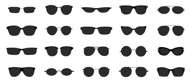 サングラスアイコンセット。黒眼鏡光学フレームシルエット。プラスチックリム付きのサンレンズ接眼レンズ。白のベクトル図スタイリッシュな孤立したオブジェクト
