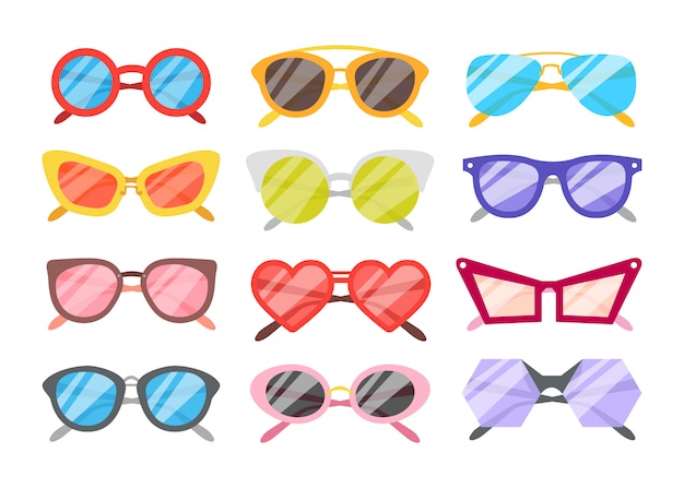 Sunglasses icons set