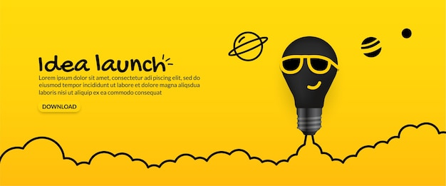 Sunglasses light bulb launching to space on yellow background
