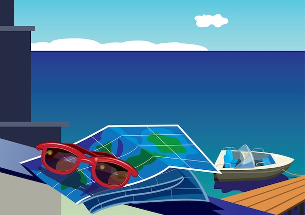 Sunglasses and map on background of the sea and sailboat