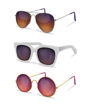 Sunglasses realistic set with different models of sun goggles with metal and plastic frames with shadows