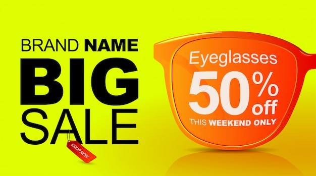 Sunglasses sale banner. big sale 50 off.