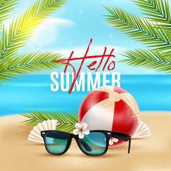 Sunglasses on sand realistic summer background