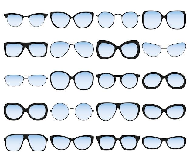 Набор солнцезащитных очков. очковые оправы различной формы и формы.