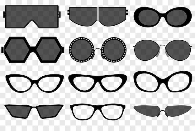 サングラスセット、サマーアイウェア日焼け止めサングラス。ファッション眼鏡アクセサリー。プラスチックフレームの現代眼鏡。バケーションアイテム。ベクター
