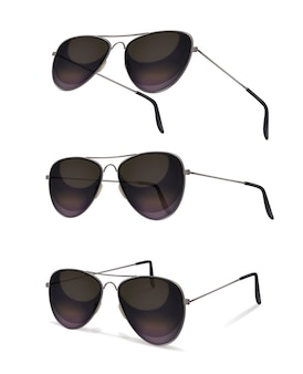 Sunglasses set with realistic images of aviator sunglasses from various angles with shadows on blank background