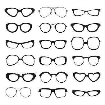 さまざまな種類やサイズのサングラスのシルエット。分離されたベクトル写真