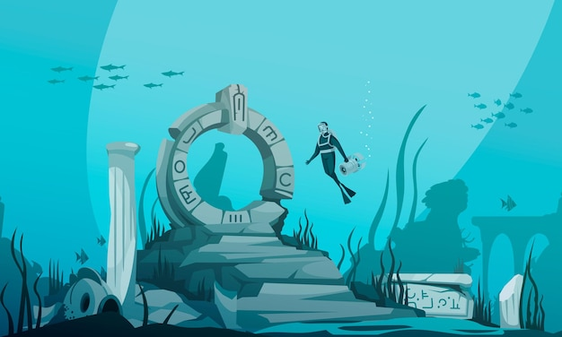Sunken atlantis cartoon underwater with ancient ruins and driver character illustration