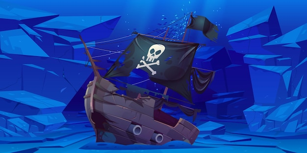 Sunken pirate ship with black sails and flag with skull and crossbones on sea bottom