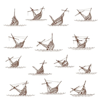 침몰한 범선과 범선 스케치, 벡터 보트 잔해 또는 난파선. 바다 또는 파도에 부서진 익사 또는 침몰 선박, 빈티지 손으로 그린 침몰한 해적 프리깃 선박. 지도 요소