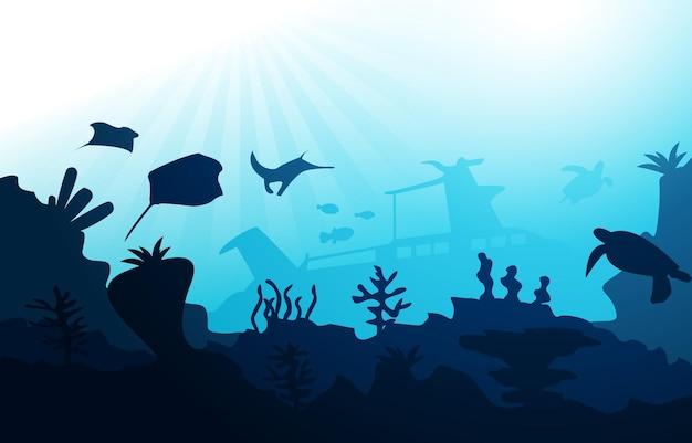 Затонувший корабль дикой природы морских животных океана подводные водные иллюстрации