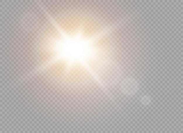 ライト効果の半透明スペシャルに日光を当てます。輝きの光の中でぼかします。日光の透明な背景。装飾の要素。水平光線。