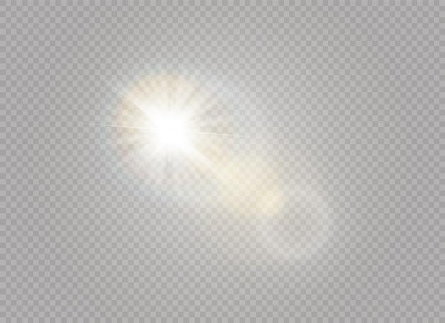ライト効果の半透明のスペシャルを太陽光で照らします。輝きの光の中でぼかします。日光の透明な背景。装飾の要素。水平光線。