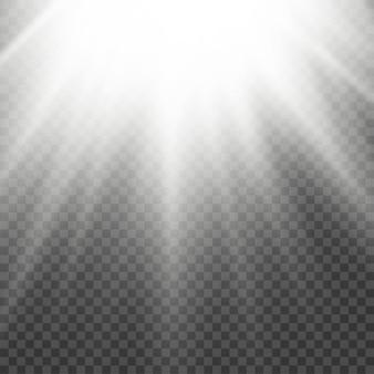 太陽光フレア効果光線白色ビーム効果は、放射輝度フロントサンレンズフラッシュの光の中でぼやけます