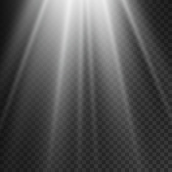Sunlight flare effect rays white beam effect blur in the light of radiance front sun lens flash