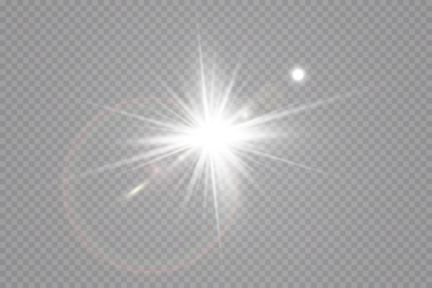Sunlight, glow light effect.  sun glare . star flashed sequins.