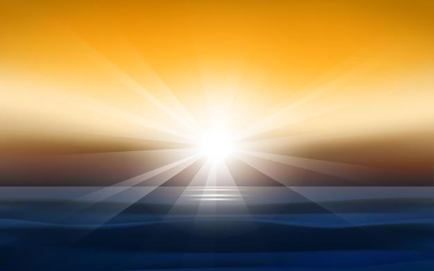 바다 배경에서 햇빛