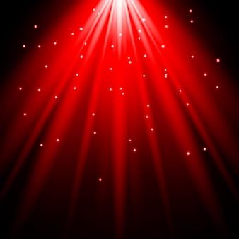 Sunlight lens flare red light effect spotlight illuminated vector illustration