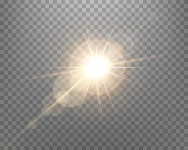 日光レンズフレア、光線とスポットライトによる太陽のフラッシュ。透明な背景に金色に輝くバースト爆発。ベクトルイラスト。