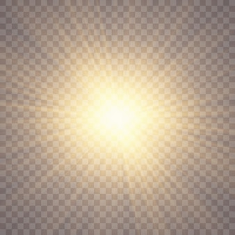 透明な背景に日光。グローライト効果。スターフラッシュスパンコール。透明な背景に太陽のまぶしさ。レンズが光っています。透明な日光特殊レンズフレアライト効果。