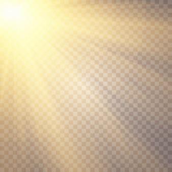 透明な背景に日光。グローライト効果。スターフラッシュスパンコール。透明な背景に太陽のまぶしさ。レンズが光っています。透明な日光特殊レンズフレアライト効果。 Premiumベクター