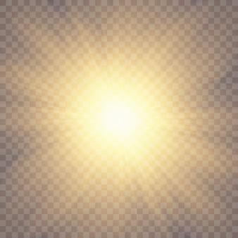 Солнечный свет на прозрачном фоне. светящиеся световые эффекты.