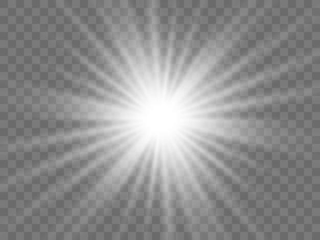 Солнечный свет на прозрачном фоне. изолированные белые лучи света. векторная иллюстрация Premium векторы