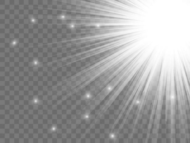 透明な背景に日光。孤立した白い光線。ベクトルイラスト