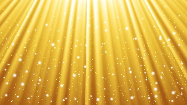 光の効果を持つ太陽光線の背景。輝きの光と黄色の背景。ベクトルイラスト