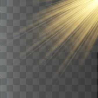 Sunlight rays, yellow special effect with rays of light.