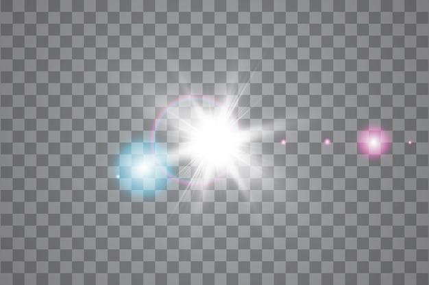 透明な背景に日光特殊レンズフレアライト効果